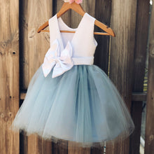 Load image into Gallery viewer, Dusty Blue Flower Girl Dress, Elegant Satin Tulle Flower Girl Dresses, Party Dress, White and Blue, Dusty Blue Wedding 1