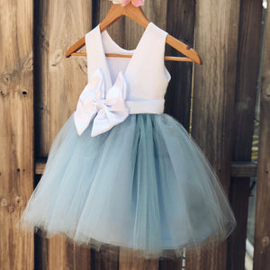 Dusty Blue Flower Girl Dress, Elegant Satin Tulle Flower Girl Dresses, Party Dress, White and Blue, Dusty Blue Wedding 1