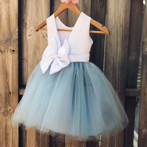 Image of Dusty Blue Flower Girl Dress, Elegant Satin Tulle Flower Girl Dresses, Party Dress, White and Blue, Dusty Blue Wedding 1