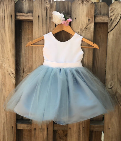 Image of Dusty Blue Flower Girl Dress, Elegant Satin Tulle Flower Girl Dresses, Party Dress, White and Blue, Dusty Blue Wedding 4