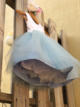 Load image into Gallery viewer, Dusty Blue Flower Girl Dress, Elegant Satin Tulle Flower Girl Dresses, Party Dress, White and Blue, Dusty Blue Wedding 5