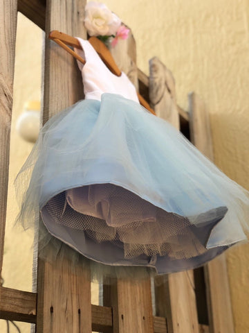 Image of Dusty Blue Flower Girl Dress, Elegant Satin Tulle Flower Girl Dresses, Party Dress, White and Blue, Dusty Blue Wedding 5