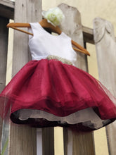 Load image into Gallery viewer, Burgundy Sarah Flower Girl dress with rhinestone sash