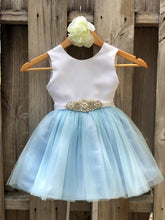 Load image into Gallery viewer, Dusty Blue Flower Girl Dress, Dusty Blue Flower Girl Dresses