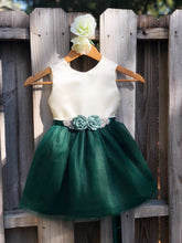 Load image into Gallery viewer, Hunter Green Flower Girl Dress with Rhinestone Flower Sash 2