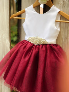 Burgundy Sarah Flower Girl dress with rhinestone sash
