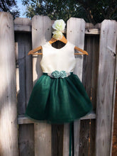 Load image into Gallery viewer, Hunter Green Flower Girl Dress with Rhinestone Flower Sash 4