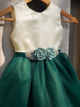 Load image into Gallery viewer, Hunter Green Flower Girl Dress with Rhinestone Flower Sash 5