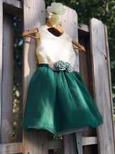 Load image into Gallery viewer, Hunter Green Flower Girl Dress with Rhinestone Flower Sash 6