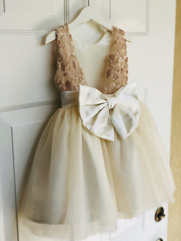 Image of Ivory Flower Girl Dress with delicate Lace, Ivory and Champagne Lace Flower Girl dress,  Flower Girl Dresses, Ivory Wedding
