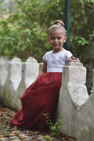 Image of Burgundy Flower Girl Dress, Tulle Flower Girl Dresses, Custom Sizes
