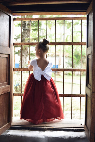 Burgundy Flower Girl Dress, Tulle Flower Girl Dresses, Custom Sizes