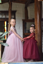 Load image into Gallery viewer, Burgundy Lace Flower Girl Dress. Long Sleeve Lace, Satin and Tulle Flower Girl Dresses with Big and Puffy Custom color and sizes.