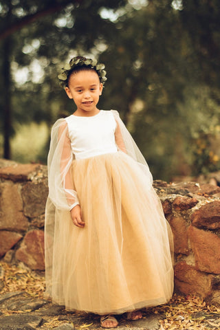 Image of Gold Flower Girl Dress, Long sleeve flower girl dress, modern flower girl dress with tulle sleeves and custom color skirt. Custom sizes.