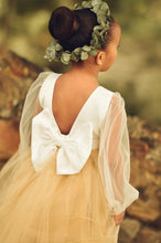 Load image into Gallery viewer, Gold Flower Girl Dress, Long sleeve flower girl dress, modern flower girl dress with tulle sleeves and custom color skirt. Custom sizes.