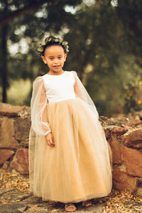Gold Flower Girl Dress, Long sleeve flower girl dress, modern flower girl dress with tulle sleeves and custom color skirt. Custom sizes.