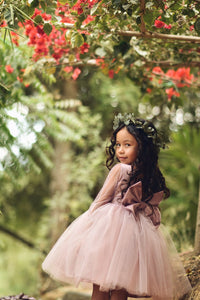 Dusty Rose Flower Girl Dress, Tulle sleeves flower girl dress boho flower girl dress