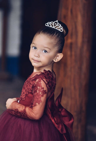 Burgundy Lace Flower Girl Dress. Long Sleeve Lace, Satin and Tulle Flower Girl Dresses with Big and Puffy Custom color and sizes.