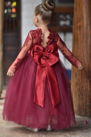Image of Burgundy Lace Flower Girl Dress. Long Sleeve Lace, Satin and Tulle Flower Girl Dresses with Big and Puffy Custom color and sizes.