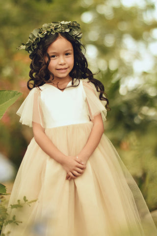 Image of Flower Girl Dress, Tulle Sleeves Flower Girl Dress, flower girl dresses, giril dress, toddler dress, litlle girl dress