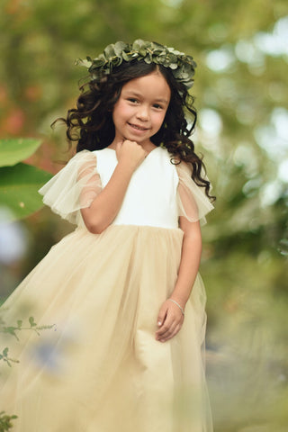 Flower Girl Dress, Tulle Sleeves Flower Girl Dress, flower girl dresses, giril dress, toddler dress, litlle girl dress