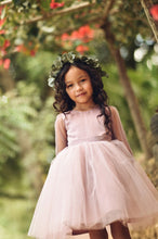 Load image into Gallery viewer, Dusty Rose Flower Girl Dress, Tulle sleeves flower girl dress boho flower girl dress