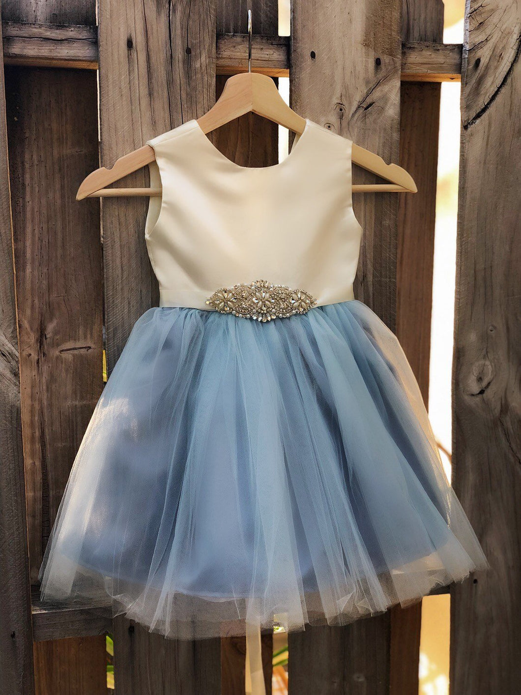 Flower Girl Dress, Dusty Blue flower girl dresses, Party dress, baptism dress