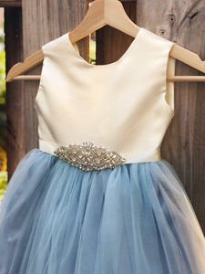 Flower Girl Dress, Dusty Blue flower girl dresses, Party dress, baptism dress 2