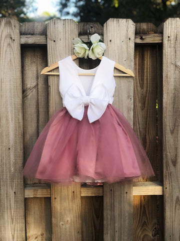 Image of Dusty Rose flower girl dress, Dusty Rose Flower Girl dresses