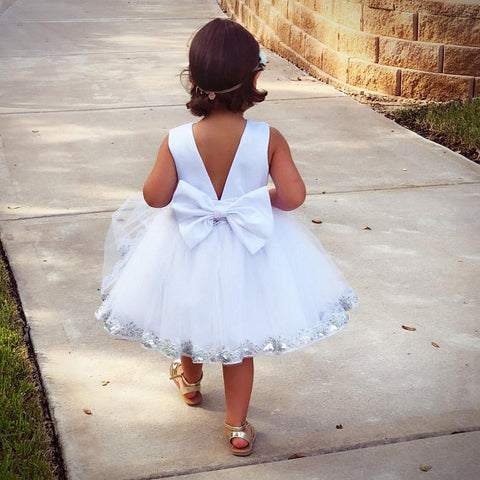 Image of White Flower Girl Dress, Flower Girl Dresses in white, White Girl Dress 4