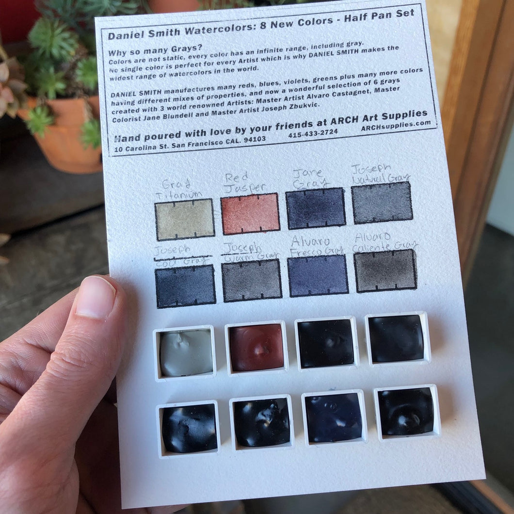 Daniel Smith Hand Poured Colors featuring Jane's Gray, Red Jasper Genuine, Gray Titanium, Alvaro's Fresco Gray, Alvaro's Caliente Gray, Joseph Z's Neutral Gray, Joseph Z's Cool Gray, Joseph Z's Warm Gray