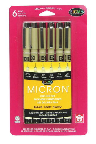 Sakura Pigma Micron 6 Pen Set (005 to 08, Black)