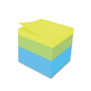 Post-it® Notes Cube, 3 in x 3 in, Assorted, 400 pk