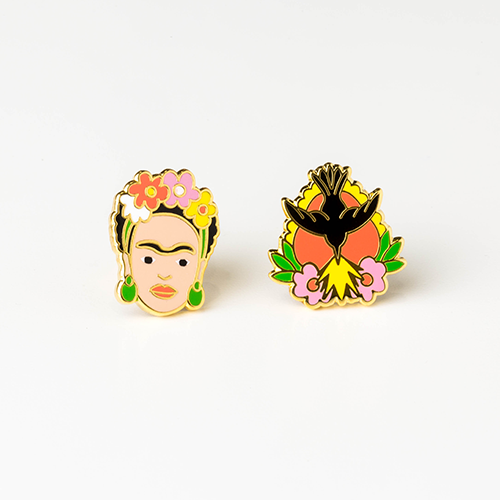Frida Kahlo & Milagro Earrings, Yellow Owl Workshop