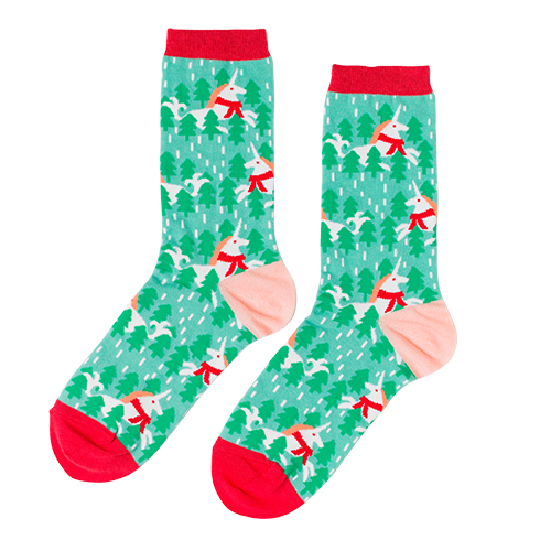 Women's Holiday Unicorn Crew Socks by Yellow Owl Workshop