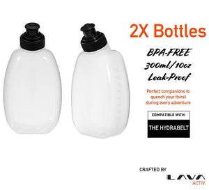 300ml (10oz) Water Bottles for the Hydrabelt (Pack of 2)