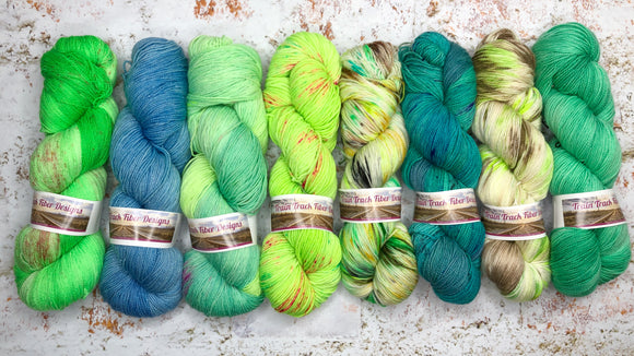 green blue aqua teal hand dyed yarn