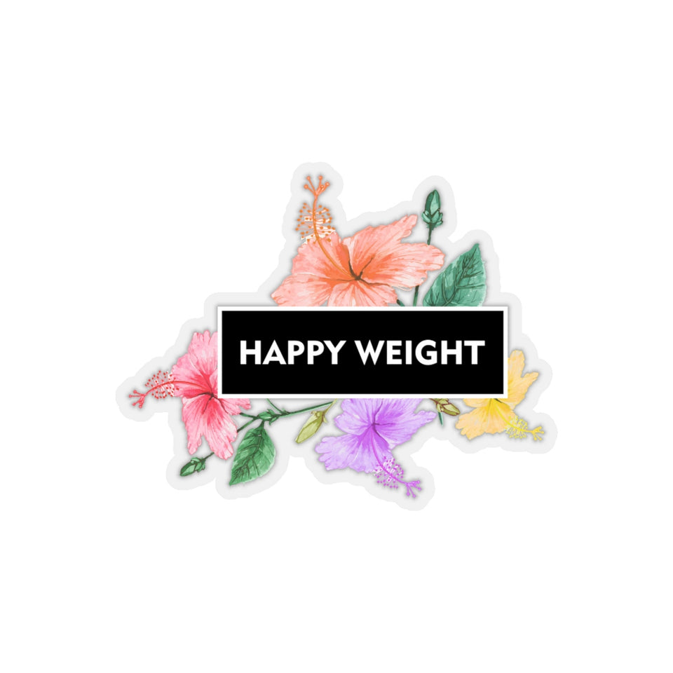 Happy Weight Hibiscus Kiss-Cut Stickers