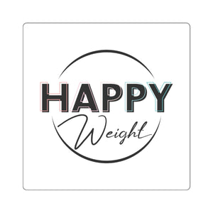 Happy Weight Logo Black Square Stickers