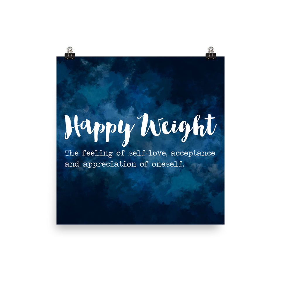 Happy Weight Defined Watercolor Dark Blue Photo Paper Poster