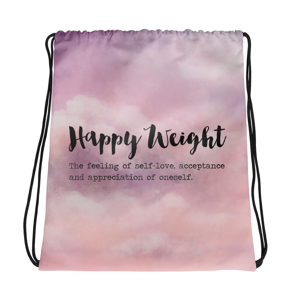 Happy Weight Defined Clouds Drawstring Bag