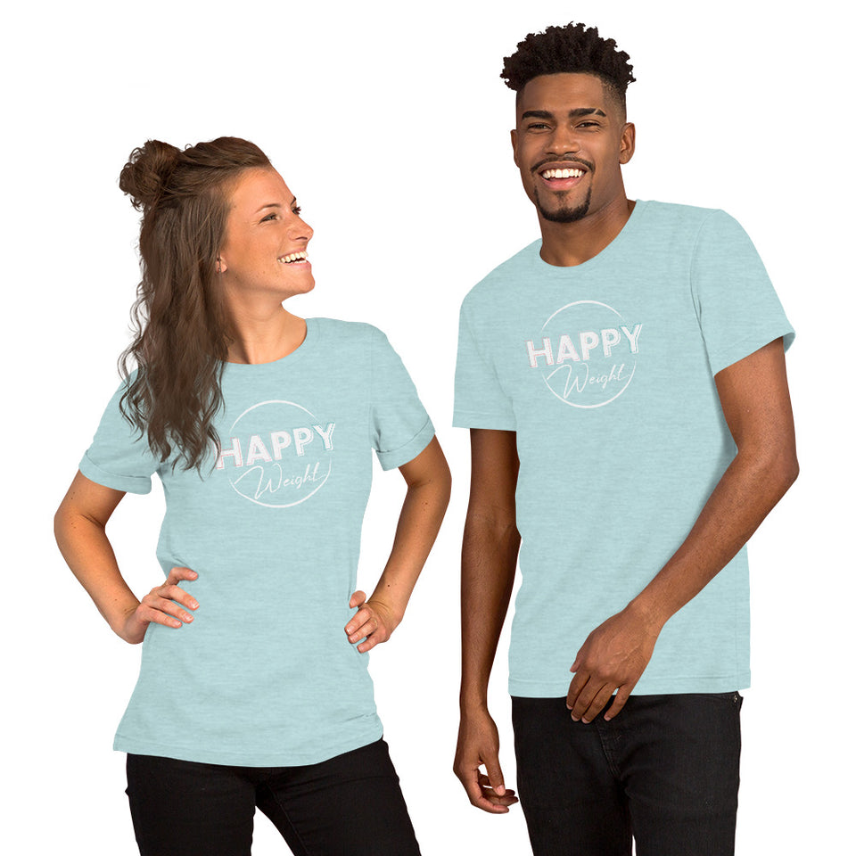 Happy Weight Logo White-Print Unisex T-Shirt
