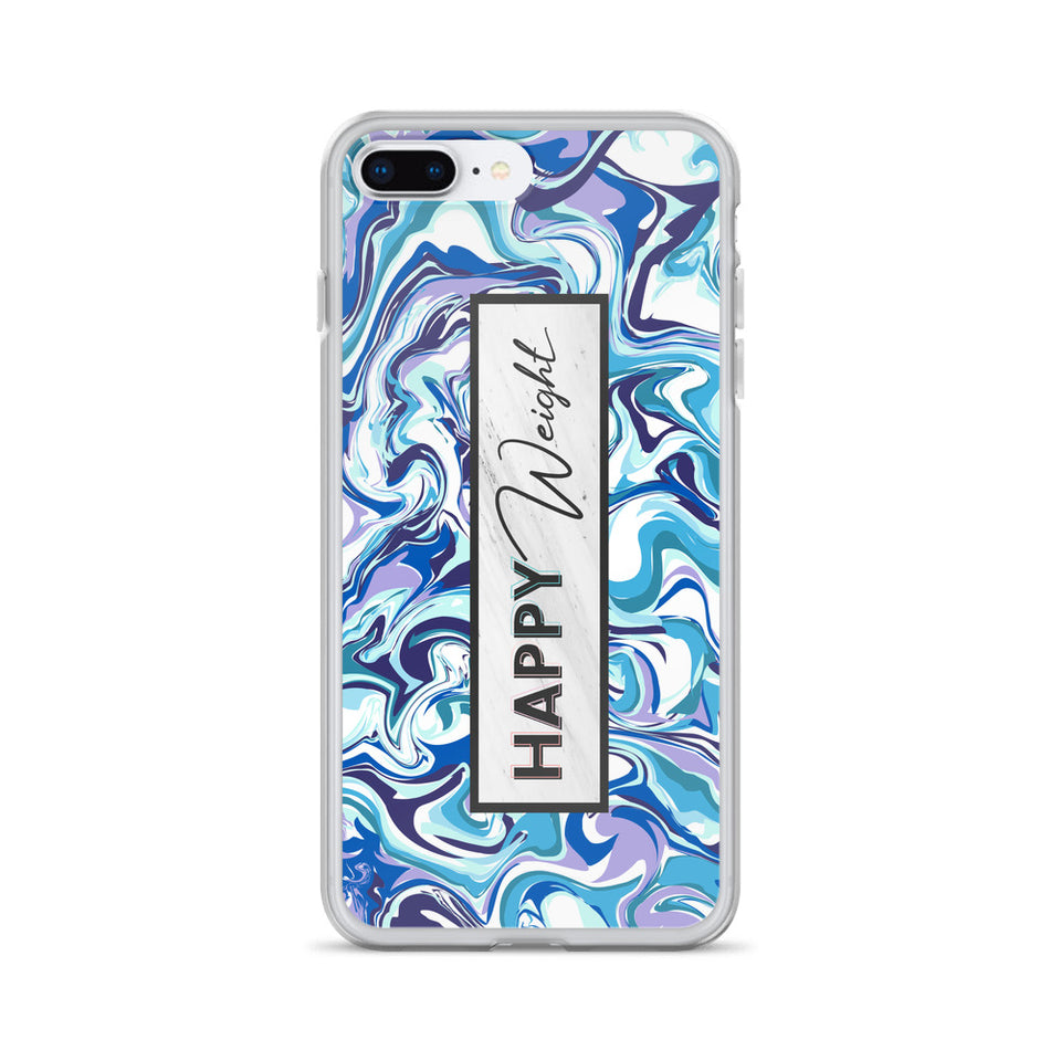 Happy Weight Marble Blue iPhone Case