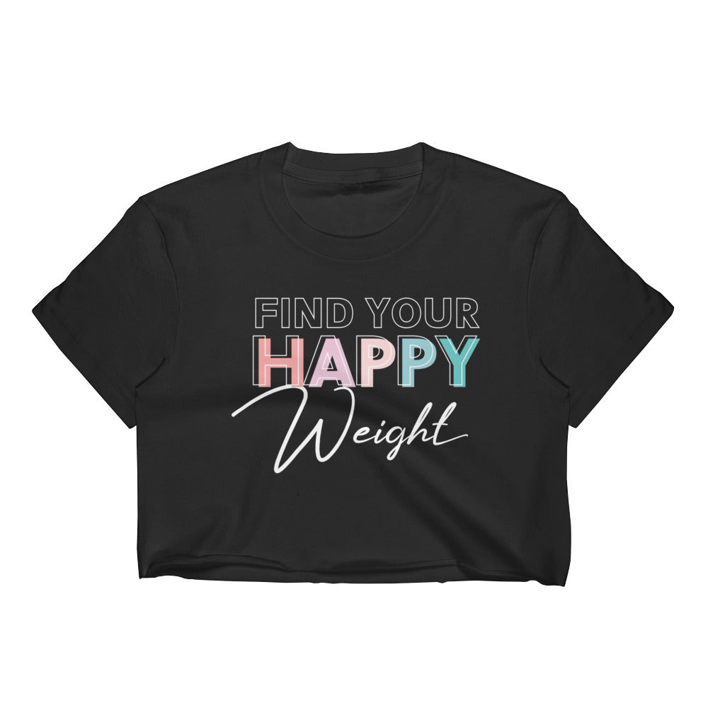 Find Your Happy Weight Cropped Black T-Shirt