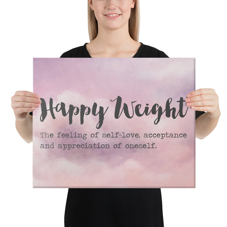 Happy Weight Defined Clouds Canvas