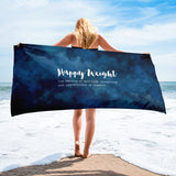 Happy Weight Defined Watercolor Dark Blue Towel