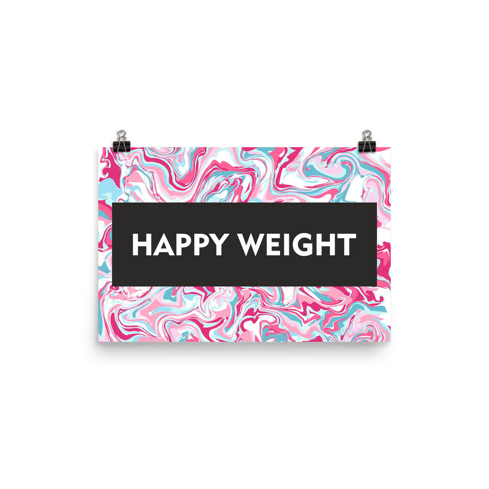 Happy Weight Marble Pink Photo Paper Poster