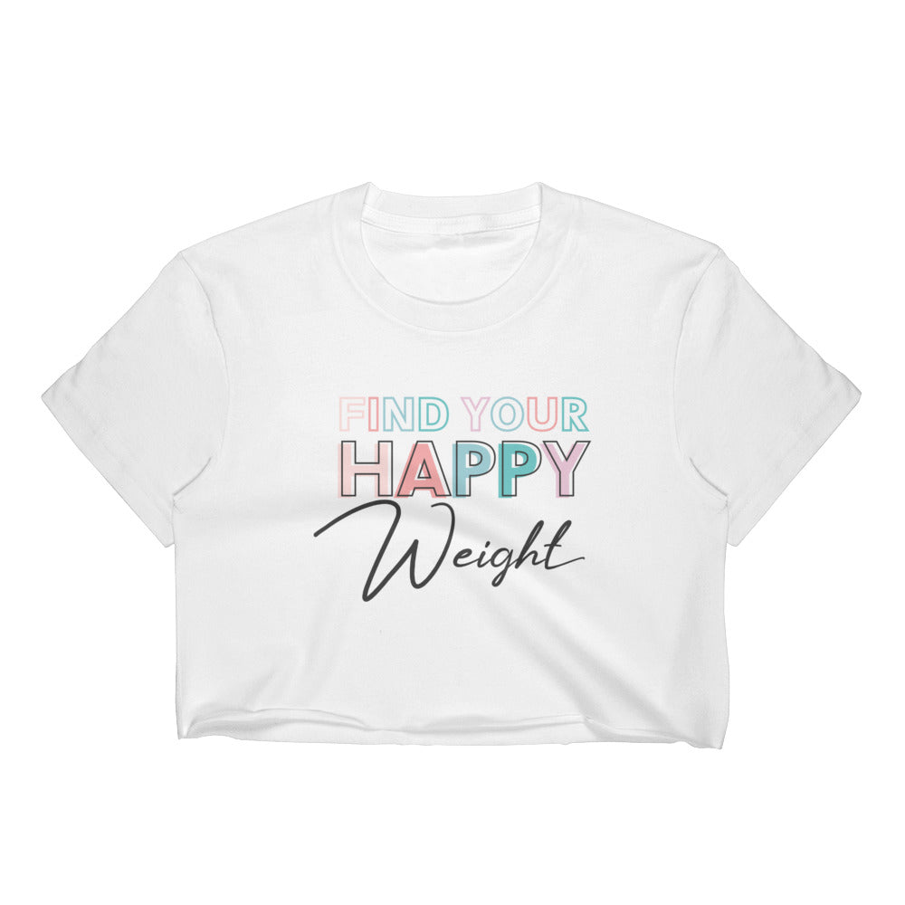 Find Your Happy Weight Cropped White T-Shirt