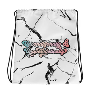Unconditionally & Unapologetically Marble Drawstring Bag