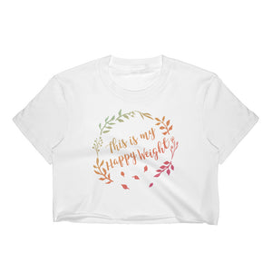 This is my Happy Weight Colorful-Print Cropped T-Shirt
